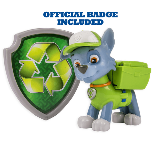 Paw Patrol - Action Pack Rocky Figure and Badge