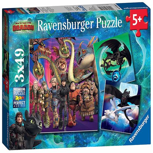 Ravensburger How to Train Your Dragon - 3x 49pc Jigsaw Puzzles