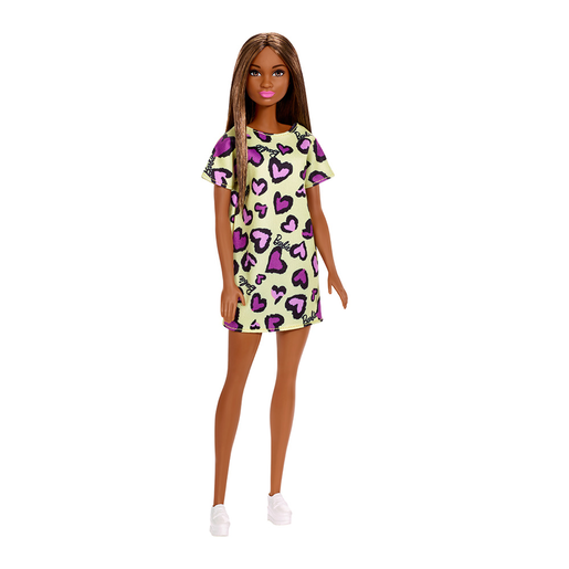 Barbie Basic Doll   Brown Hair And Yellow Heart Dress