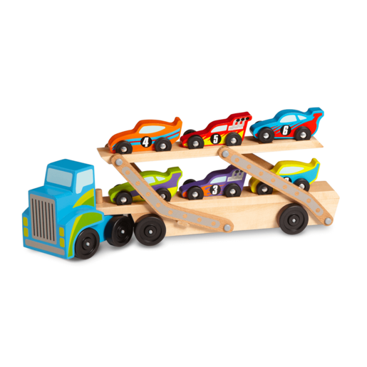 Melissa & Doug Wooden Mega Race Car Carrier