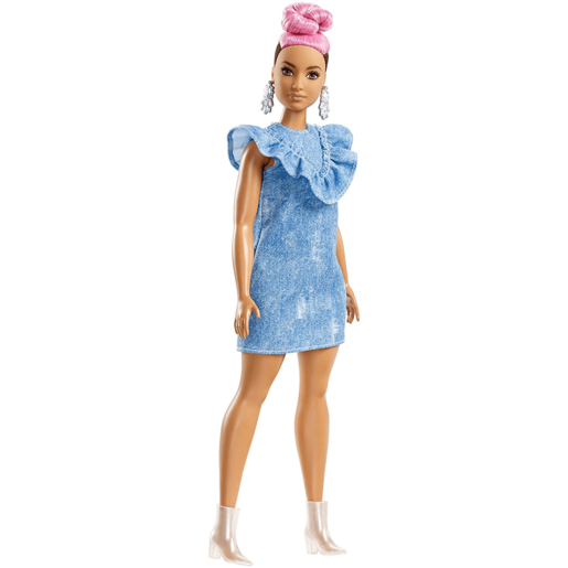 Barbie Fashionistas Doll - Pink Hair Curvy with Denim Dress