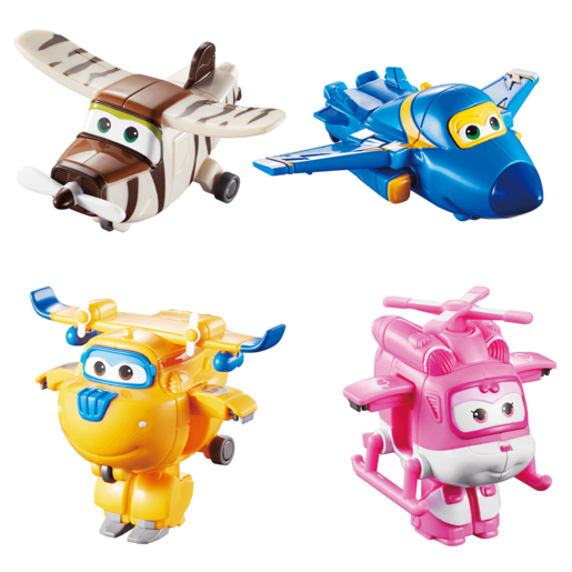 Super Wings Transform-a-Bots Planes 4 pack Donnie, Dizzy, Jerome, Bello