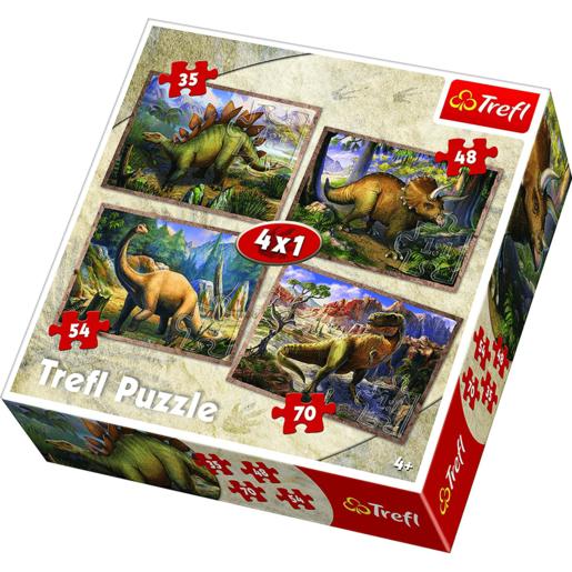 Trefl 4 x Puzzle - Dinosaur