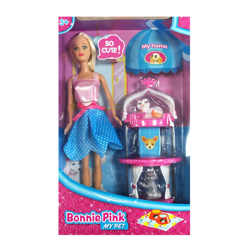 Bonnie Pink Blonde Hair Doll - Pet House Play Set from TheToyShop