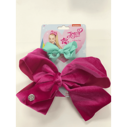 JoJo bow 2 pack with standard size velvet bow Pink