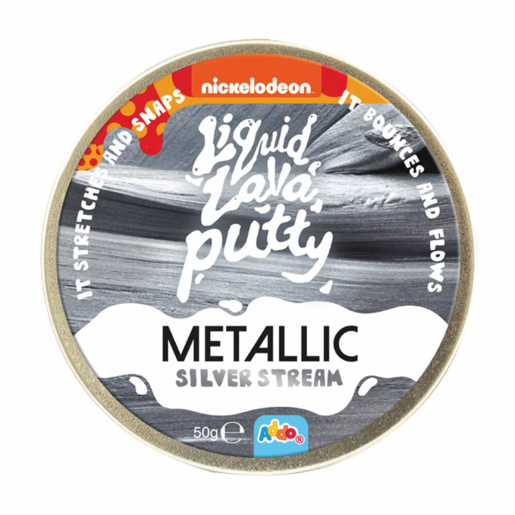Nickelodeon Liquid Lava Putty Metallic Silver Stream