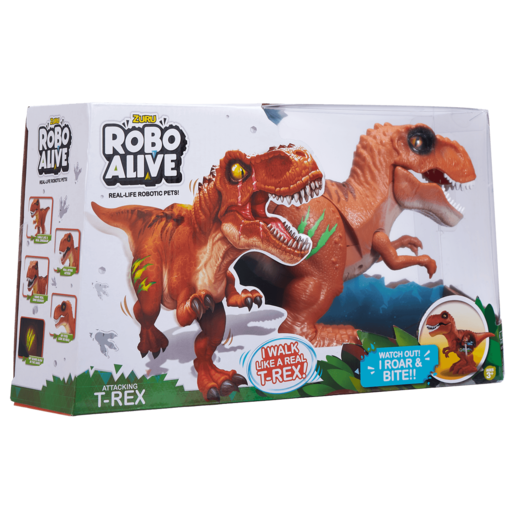 Robo Alive Interactive Attacking T-Rex - Brown
