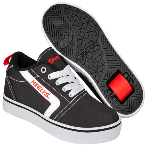 Heelys - Size 2 - GR8 Pro Black, White and Red