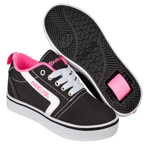 Heelys - Size 1 - GR8 Pro Black, White and Pink