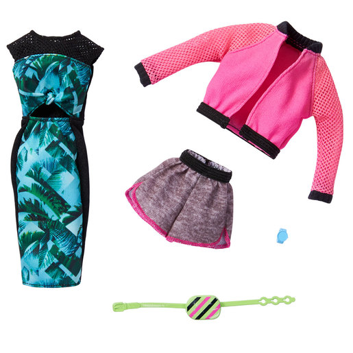 Barbie Fashions Outfits 2 Pack - Pink Jacket and Tropical Dress