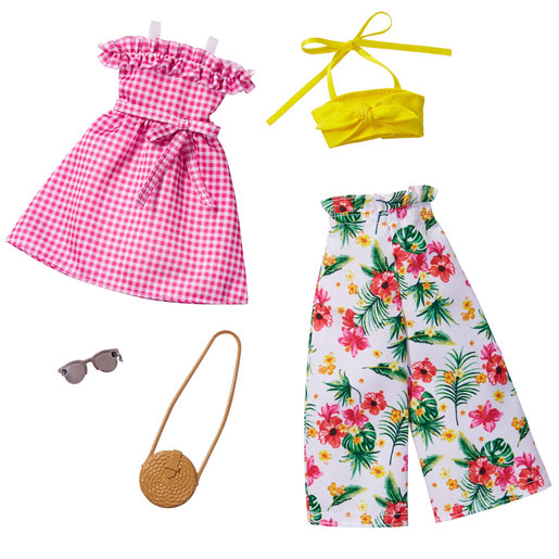 Barbie Fashions Outfits 2 Pack - Pink Frill Dress and Flower Trousers