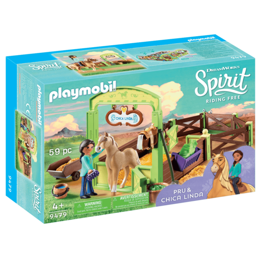 Playmobil DreamWorks Spirit Pru and Chica Linda with Horse Stall - 9479
