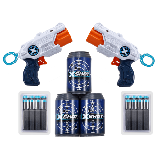 X-Shot Double MK 3 Foam Dart Blaster Combo Pack -16 Darts 3 Cans