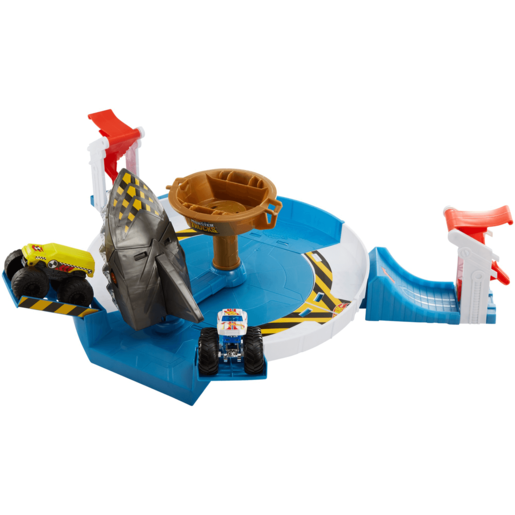 Hot Wheels Monster Trucks Giant Mechanized Shark Face-off Playset