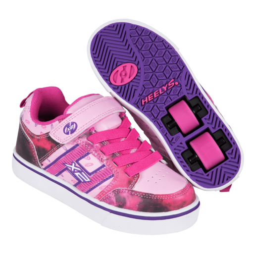 Heelys - Size 1 - X2 Bolt Pink and Purple Skate Shoes