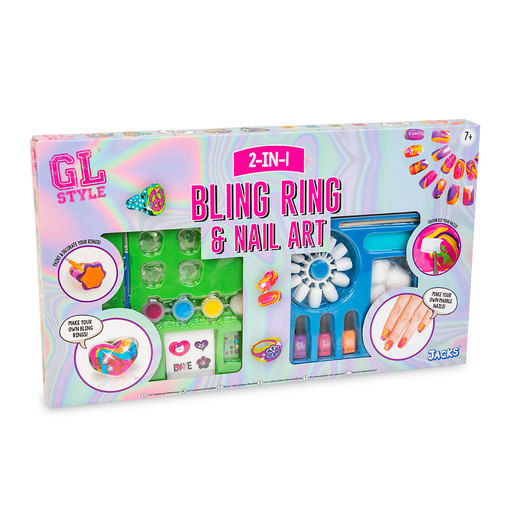 GL Style 2-in-1 Bling Ring and Nail Art Set