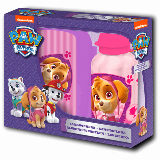 Paw Patrol Sandwich Box and 400ml Canteen - Pink