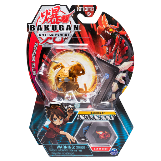 Bakugan 5cm Tall Action Figure and Trading Card - Aurelus Dragonoid