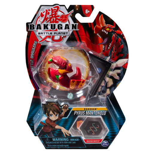 Bakugan 5cm Tall Action Figure and Trading Card - Pyrus Mantanoid