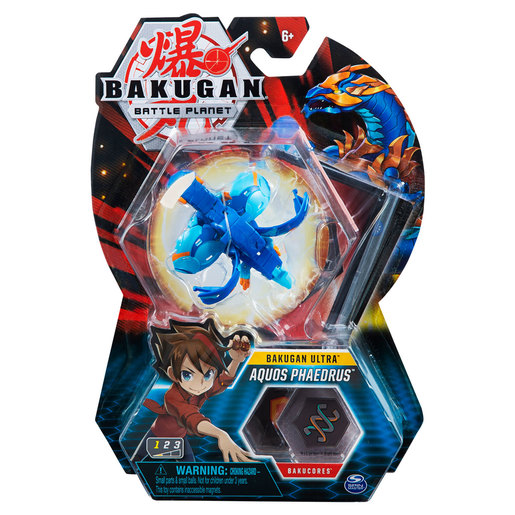 Bakugan 8cm Ultra Action Figure and Trading Card - Aquos Phaedrus