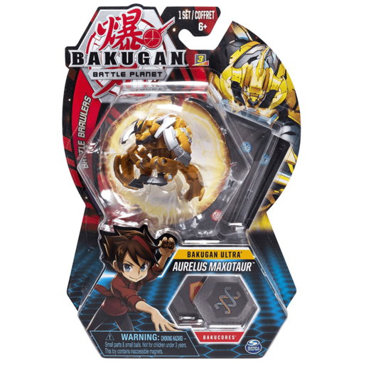 Bakugan 8cm Ultra Action Figure and Trading Card - Aurelus Maxotaur