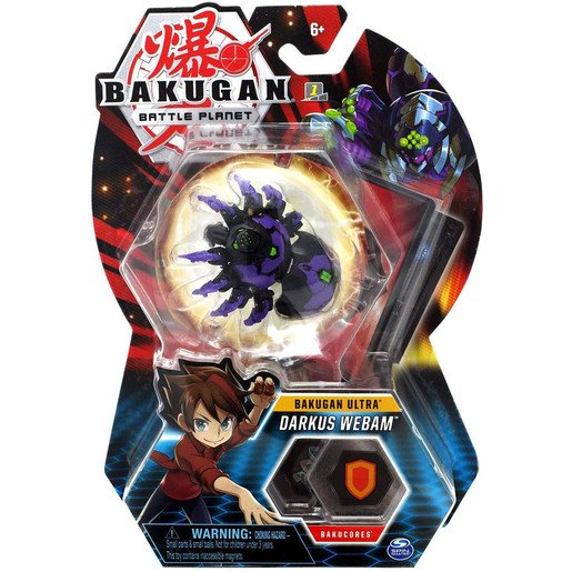 Bakugan 8cm Ultra Action Figure and Trading Card - Darkus Webam