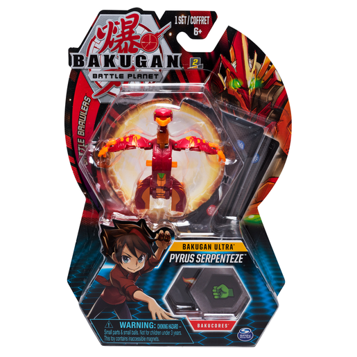 Bakugan 8cm Ultra Action Figure and Trading Card - Pyrus Serpenteze