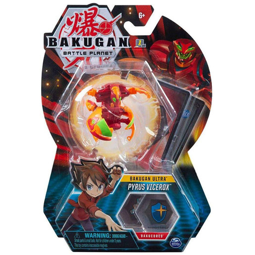 Bakugan 8cm Ultra Action Figure and Trading Card - Pyrus Vicerox