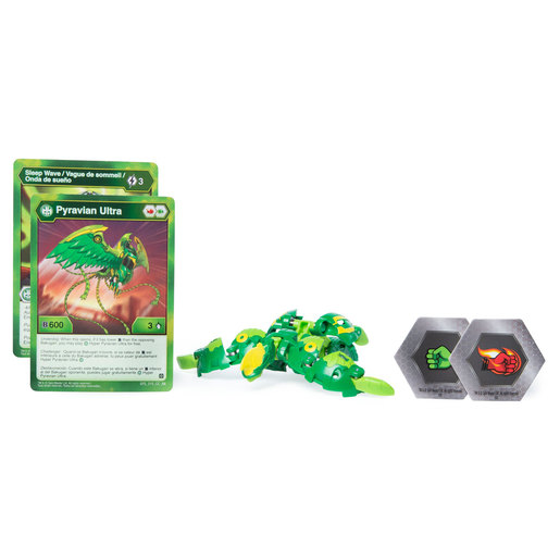 Bakugan 8cm Ultra Action Figure and Trading Card - Ventus Pyravian