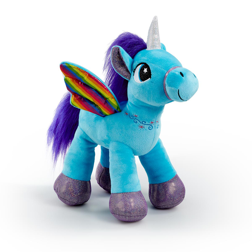Snuggle Buddies Rainbow Flutter Unicorn Soft Toy - Blue