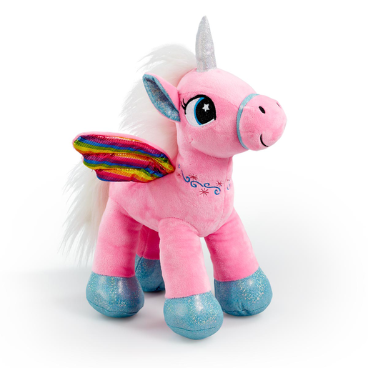 Snuggle Buddies Rainbow Flutter Unicorn Soft Toy - Pink