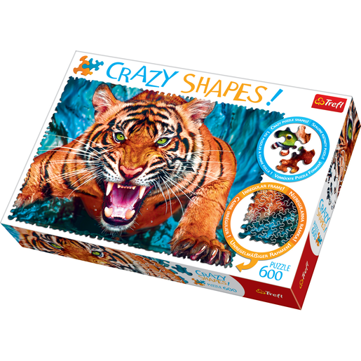 Trefl Crazy Shapes 600 Piece Puzzle - Facing a Tiger