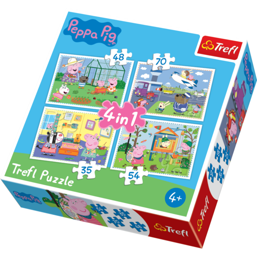 Trefl 4 in 1 Puzzle Peppa Pig - Holiday Recollection