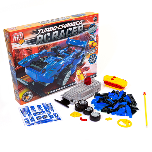 Block Tech Turbo Charged RC Racer Car - Blue