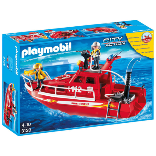 Playmobil City Action Fire Rescue Boat with Pump - 3128