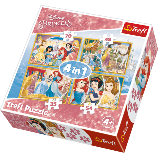 Trefl 4 in 1 Puzzle Disney Princess - Happy Day of Princesses