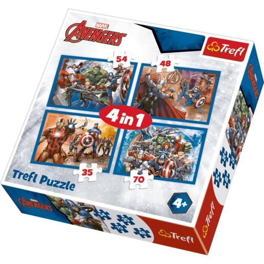 Trefl 4 In 1 Puzzle Marvel Avengers  Fearless Avengers