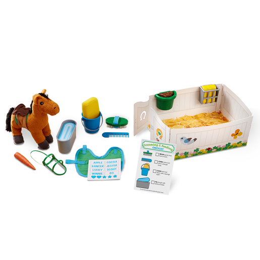 Melissa and Doug Horse Care Playset - Feed and Groom