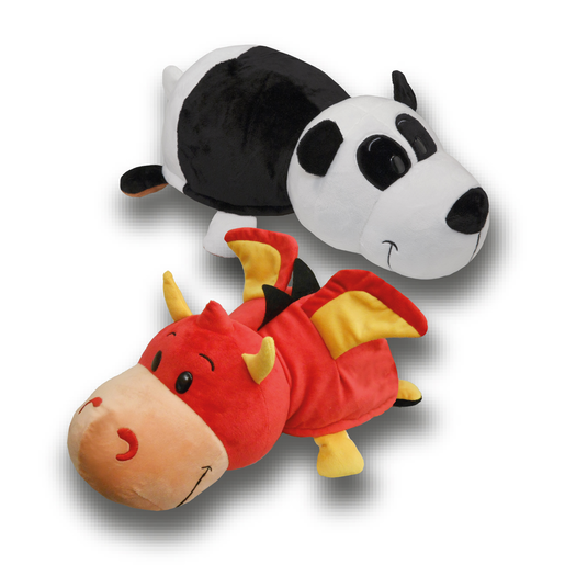 FlipaZoo Plush Soft Toy - Red Dragon and Panda