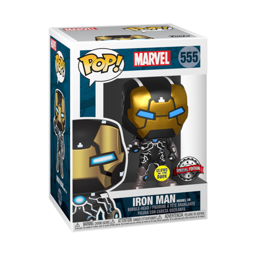Funko Pop! Marvel 80th Anniversary - Iron Man Model 39 Bobble-Head (Glow in the Dark)