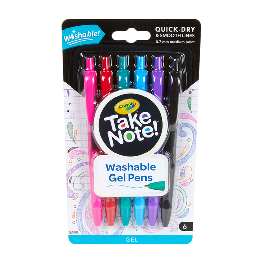 Crayola Take Note 6 Pack Washable Gel Pens