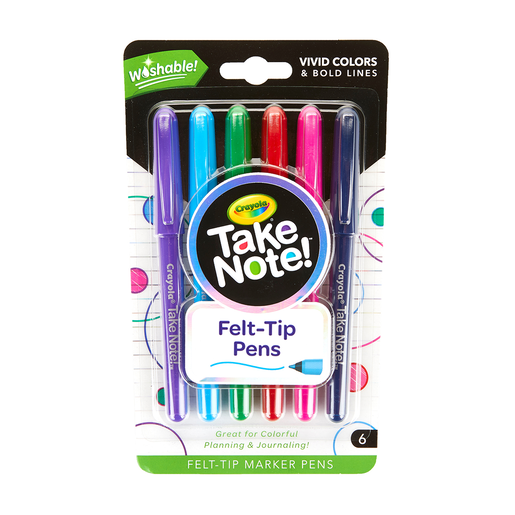 Crayola Take Note 6 Pack Felt Tip Washable Marker Pens
