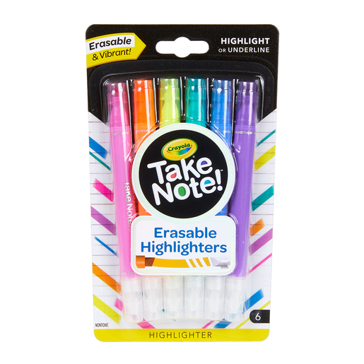 Crayola Take Note 6 Pack Erasable Highlighters