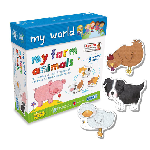 Gibsons My World My Farm Animals 2 Piece Puzzles