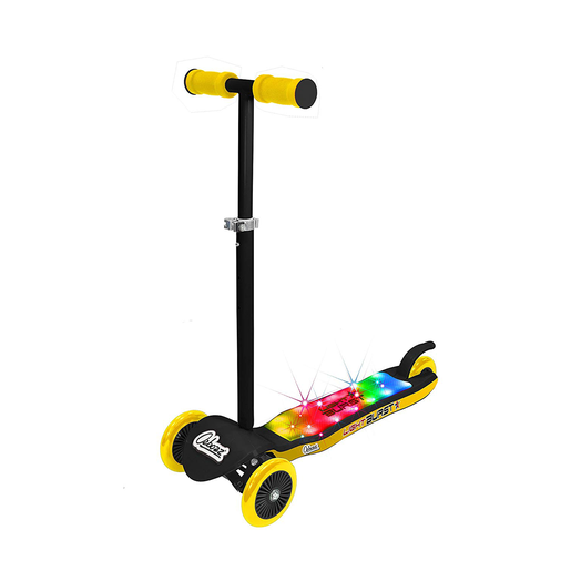 Ozbozz 3 Wheel Light Burst Light Up Scooter - Black and Yellow
