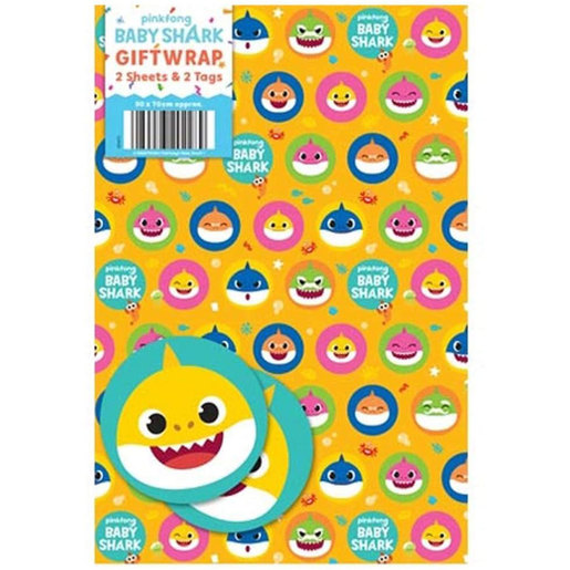 Baby Shark Wrapping Paper - 2 Sheets and 2 Tags