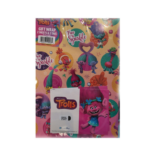 DreamWorks Trolls Wrapping Paper - 2 Sheets and 2 Tags