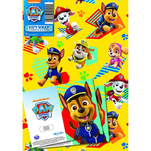 Paw Patrol Wrapping Paper - 2 Sheets and 2 Tags