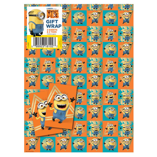 Despicable Me Wrapping Paper - 2 Sheets and 2 Tags