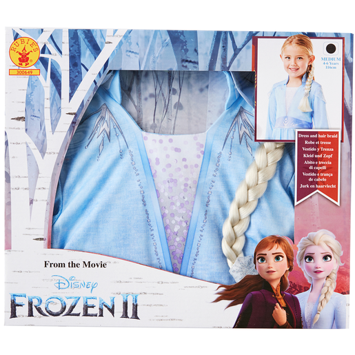 Disney Frozen 2 Elsa Fancy Dress Set with Hair Braid - 4-6 Years